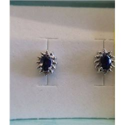 EARRINGS- BLUE SAPPHIRE & DIAMONDS IN STERLING SILVER SETTING - RETAIL ESTIMATE $350