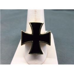 RING - MAN'S SOLID BRONZE & ENAMEL IRON CROSS RING - SIGNED BY ARTIST