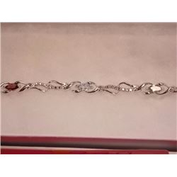 BRACELET - 6 MARQUIS FACETED MULTI GEMSTONES & DIAMOND IN STERLING SILVER SETTING - RETAIL ESTIMATE