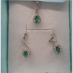 EARRINGS & NECKLACE SET - .75 PEAR FACETED EMERALD & DIAMONDS IN STERLING SILVER SETTING - INCLUDES