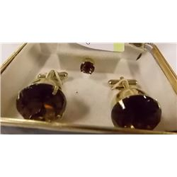 VINTAGE CUFF LINK SET WITH TIE PIN - SMOKY TOPAZ?