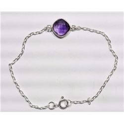 BRACELET - ROUND FACETED AMETHYST IN STERLING SILVER BEZEL SETTING - ADJUSTABLE SIZE - RETAIL ESTIMA