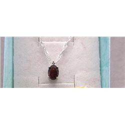 NECKLACE - 1CT OVAL FACETED GARMET & DIAMOND IN STERLING SILVER SETTING - INCLUDES CERTIFICATE $280