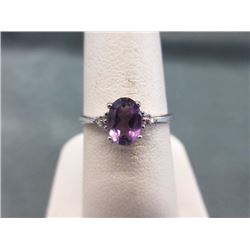 RING - OVAL FACETED AMETHYST & 2 DIAMONDS IN STERLING SILVER SETTING - RETAIL ESTIMATE $300