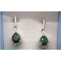 EARRINGS- EMERALDS & DIAMONDS IN STERLING SILVER DANGLE DESIGNED SETTING - RETAIL ESTIMATE $400
