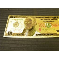 GOLD FOIL BILL - 24 K - USA $10 - not legal tendar