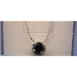 NECKLACE - 1.0 CT ROUND FACETED SMOKEY TOPAS & DIAMOND IN STERLING SILVER SETTING - RETAIL ESTIMATE