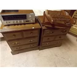 PINE NIGHT STANDS - 3 DRAWERS - 2 TTL