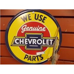 AUTOMOBILIA MEMORABILIA - METAL SIGN - WE USE GENUINE CHEVROLET PARTS