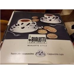 NEW CAPACHINO SET - BIALETTE CUP & SAUCER SET - 8PC - RETAIL ESTIMATE $49.99