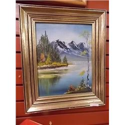 FRAMED OIL PICTURE - LAKE & MOUNTAINS
