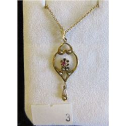 PENDANT - RUBY WITH PEARL ACCENT IN 10K YELLOW GOLD SETTING - INCLUDES GOLD PLATED CHAIN - RETAIL ES