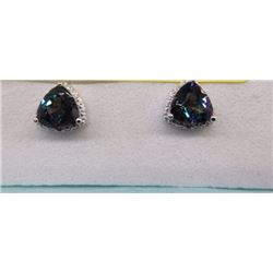 EARRINGS - 2.2 CTW TRILLION FACETED MYSTIC TOPAZ & DIAMONDS IN STERLING SILVER SETTING - INCLUDES CE
