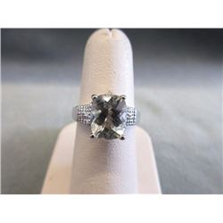 RING - EXTRA LARGE EMERALD/ CUSION FACETED GREEN AMETHYST & 4 DIAMONDS IN STERLING SILVER SETTING -