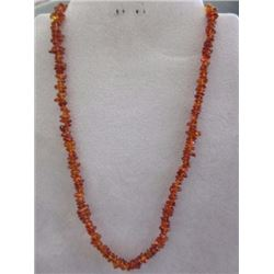 "NECKLACE - 34CT RICH DEEP HONEY YELLOW ORANGE BALTIC AMBER - 18"" LONG - INCLUDES CERTIFICATE $210"
