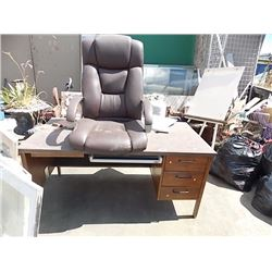 DESK - 3 DRAWER - 30 X 60 & LEATHER CHAIR TOP