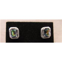EARRINGS - EMERALD FACETED OCEAN BLUE MYSTIC TOPAZ & DIAMOND IN STERLING SILVER SETTING - RETAIL EST