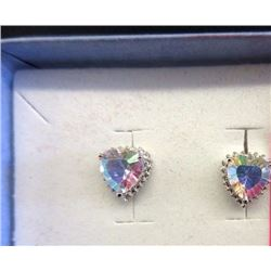 EARRINGS - NEW HEART FACETED OPAQUE COLOUR MERCURY TOPAZ & DIAMOND IN STERLING SILVER SETTING - RETA