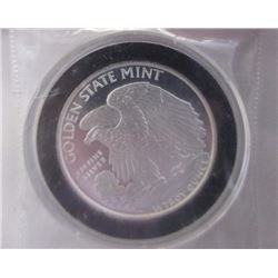 ART ROUND - 1/2 TROY OUNCE .999 FINE SILVER - GOLDEN STATE MINT - WALKING LIBERTY / EAGLE MOTIF - EN