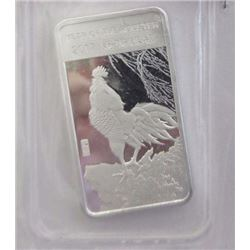 ART BAR - 1/2 TROY OUNCE .999 FINE SILVER - MINT SEALED - 2017 YEAR OF THE ROOSTER MOTIF