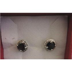 EARRINGS - NEW GARNET & DIAMONDS IN STERLING SILVER SETTING - ESTIMATED RETAIL $275