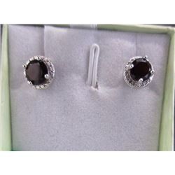 EARRINGS- 1.75CTW GARNET & DIAMONDS IN STERLING SILVER SETTING - RETAIL ESTIMATE $350