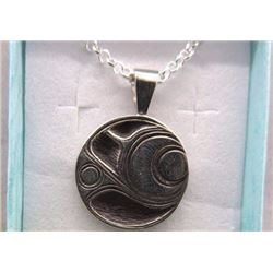 NECKLACE - FIRST NATIONS STERLING SILVER - SALMON DESIGN - SIGNED BY ARTIST