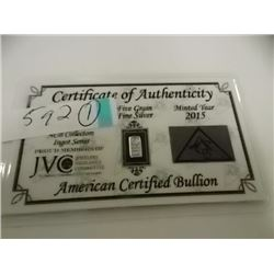 SILVER INGOT - .999 FINE SILVER - 5 GRAIN - WITH CERTIFICATE OF AUTHENTICITY - MINT SEALED