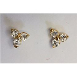 EARRINGS - TOTAL OF 6 ROUND FACETED CUBIC ZIRCONIA IN 10K YELLOW GOLD FLOWER DESIGNED SETTING - RETA