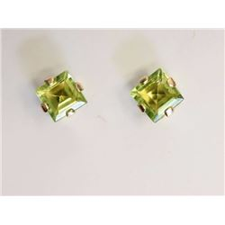 EARRINGS - SQUARE FACETED LIGHT GREEN PERIDOT IN 10K YELLOW GOLD 4 CLAW SETTING - POST & BUTTERFLY B