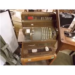 VINTAGE NATIONAL CASH REGISTER WITH WOOD TONE METAL