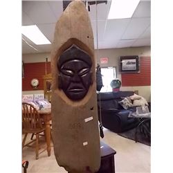 HAND CRAFTED CARVED WOOD PLAQUE BY D.E.B. - 3' LONG