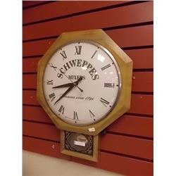 SCHWEPPES MIXERS ADVERTISING WALL CLOCK