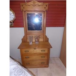VINTAGE EAST LAKE QUEBEC ASH DRESSER WITH MIRROR - CIRCA 1870