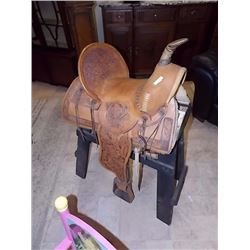 WESTERN SADDLE - HAND TOOLED - LIKE NEW