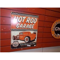 AUTOMOBILIA MEMORABILIA - METAL SIGN - HOT ROD GARAGE