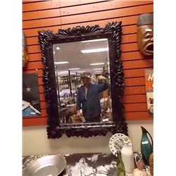 LARGE ORNATE WALL MIRROR WITH BLACK FRAME - 30 X 40""