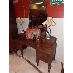 VINTAGE WALNUT DRESSER / VANITY - 1920'S - WITH MIRROR AND SHOULDER NOOKS
