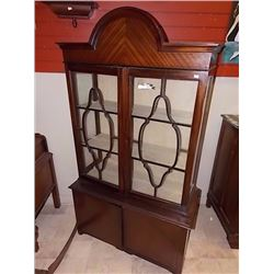 "VINTAGE CHINA CABINET - 80"" TALL - GLASS 2 CRACKS"