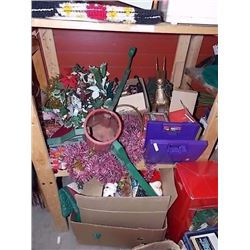 SHELF LOT OF COLLECTABLE & HOUSE HOLD - INCLUDING CHRISTMAS ITEMS