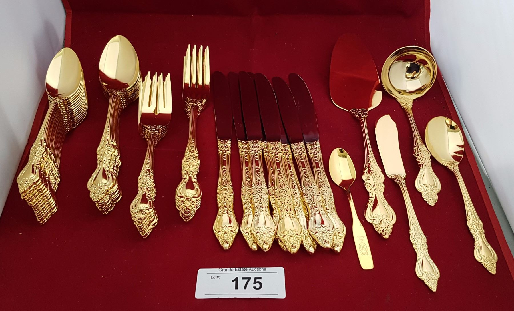 Image 1  45 PC ROYAL SEALY GOLD PLATED FLATWARE SET ...  sc 1 st  iCollector.com & 45 PC ROYAL SEALY GOLD PLATED FLATWARE SET