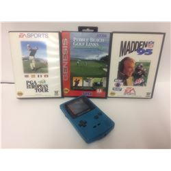GAMEBOY COLOUR W/ SEGA VIDEO GAMES LOT