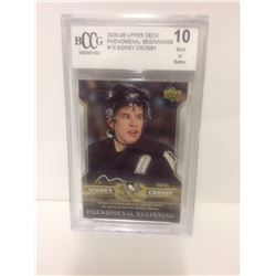 2005-06 SIDNEY CROSBY #10 UPPER DECK PHENOMINAL BEGINNINGS (10 MINT OR BETTER)