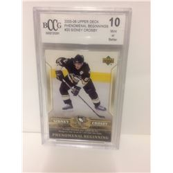2005-06 SIDNEY CROSBY #20 UPPER DECK PHENOMINAL BEGINNINGS (10 MINT OR BETTER)