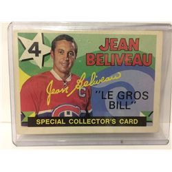 1971-72 OPC #263 JEAN BELIVEAU SPECIAL COLLECTOR'S CARD