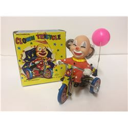 Mechanical Clown Tricycle Wind-up Metal Toy