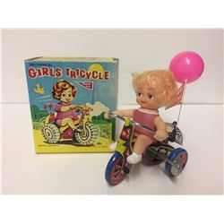 VINTAGE 1960 Wind Up Mechanical Girls Tricycle Tin Litho