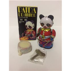 Panda Tin Drummer Vintage China Clockwork in Box Wind Up (with Key)