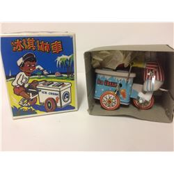 Retro Wind Up Ice Cream Vendor Cart Mechanical Clockwork Tin Toy Collectible