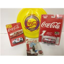 COLLECTIBLE COCA COLA LOT (FRISBEE, DIE CAST VEHICLES)